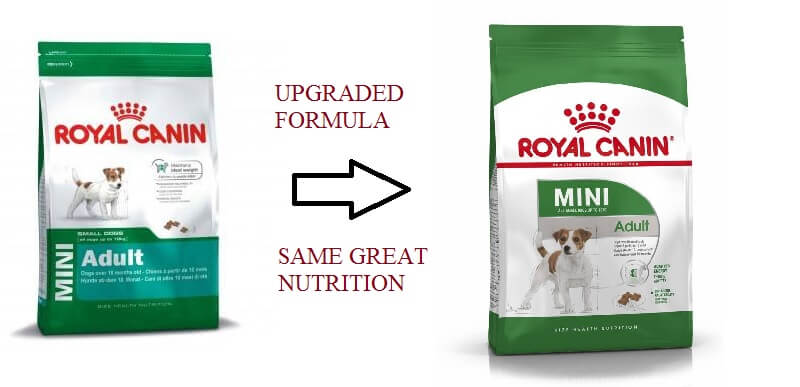 royal canin mini adult old vs new