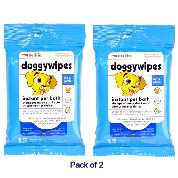 petkin instant bath dog wipe